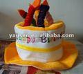 Jaune mignon en velours fantaisie chapeau en forme de gâteau d'anniversaire