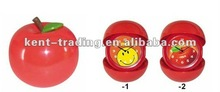 Plastic Red Apple Shaped Alarm Clock Funny Kids Plastic Desk Alarm Clock with any logo on the dial