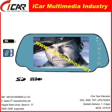 Top selling! Touch Screen USB,SD buletooth car rear view mirror