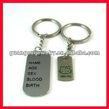 fashion zinc alloy tag couple keyring love keyring
