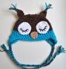 Children's Hand Crocheted Cotton Sleepy Owl Beanie Hat Earflap (KCC-TM0031)