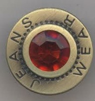 flat top brass jeans button with diamond