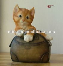 resin cat money bank craft