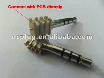 3.5mm 4-pole plug headphone jack connector with chips for PCB