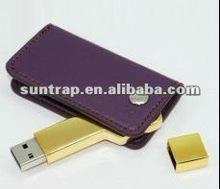 elegant leather with metal key USB flash memory gift flash drive