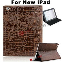 2012 New Crocodile Skin Pattern Leather Stand Hard Case for the New iPad(Brown)