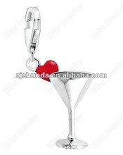 Romantic simple style silver wine glass with red heart pendant / charm 13*9*9
