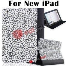 Leopard Design Folio Book Style Leather Case for iPad 3(Grey)