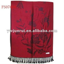 2012 New Arrival Fashion Cotton Scarf With Flower Printing(Dark Red)