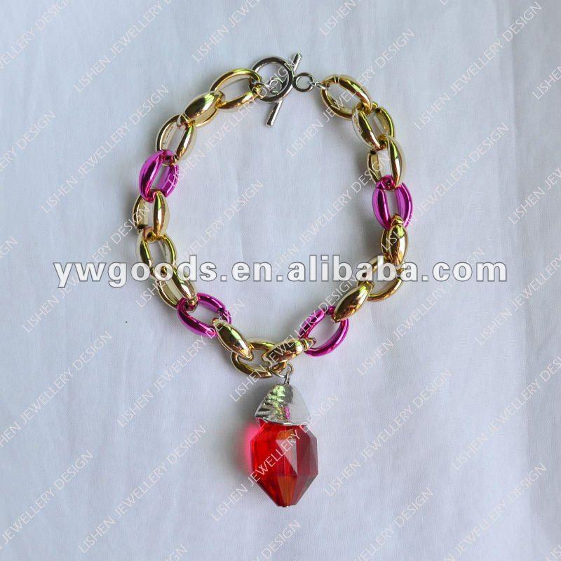 uv plating plastic chain bracelet with charm view uv