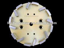 40# 10 inch Diamond Grinding Head with 16 Segments 38x12x12mm soft bond for hard concrete floor
