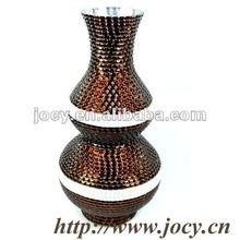 Unique handmade glass brown mosaic vase for home decor