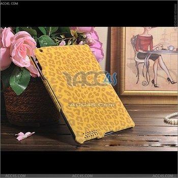 Ultra thin leopard skin pattern elastic PU leather case for ipad 2/3P-IPAD2CASE098