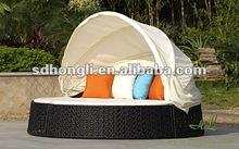 Outdoor rattan big round bed HLWL021