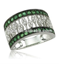 2012 fashion white gold emerald crystal ring