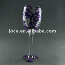 purple decal pedestal Clear glass vase