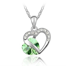 Austrian crystal jewelry necklace-Heart date(olive)