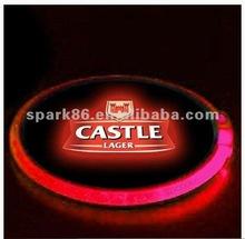 pub,KTV promotional plastic flashing led coaster, blinking led coaster