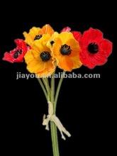 Artificial PU flower Poppy Real Touch Wedding flower