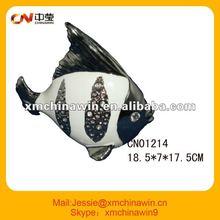 2012 hot Lovely ceramic fish decoration with diamond