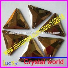 2012 newest color jet nut sew-on crystal, sew-on rhinestone triangle shape