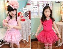 2012 popular fashion lovely Flower Lace gauze princess children dress