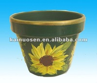 hand painted terracotta green round pots