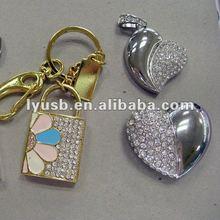 4gb usb flash drive for girls,8gb jewel necklace usb flash drive,jewery heart shape 8gb usb flash drive wedding gift