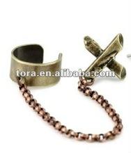 2012 fashion antique bronze Cross Ear Cuff earrings