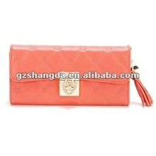 2012 New fashion design women leather wallet in light orange