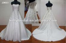 Glamorous Aline Fascinating Satin Wedding Dress 2012 Real Samples