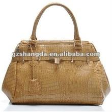 2012 Hottest! Fashion handbag for women in light brown crocodile