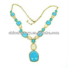 2012 Fashion aqua resin stone gold Necklace
