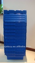20L Hinged Plastic Tote Relocation Crate with Attached Lids