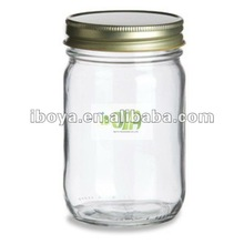 Eco Mason Tapered Glass Jar 8 oz w/ Gold Lid