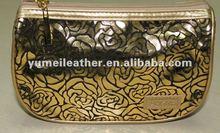 2012 fine designer high quality wholesale gold PU rose folding bag
