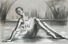 Ballet girl Dance Painting on canvas