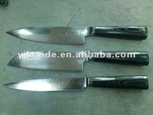 3 pcs Damascus steel knife set