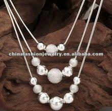 Fashion Silver Matte Three Layer Bead Necklace