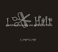 """Dazzling I """"Cut"""" Hair/Stylist RHINESTONE Iron On Transfer Clear For Garment"""