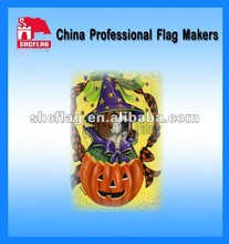 2012 meaningful square new custom logo China polyester printed garden flag banner