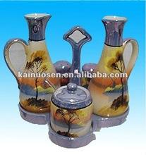 Porcelain Cruet Set Oil Vinegar, Salt, Pepper