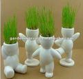 Boneca de cerâmica cabeças planta que cresce bandejas planta de vaso