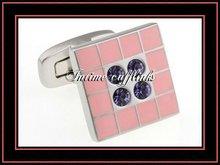 fashion enamel diamond executive cufflinks