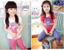 2012 summer new style suit 2-pieces girls' Little bear short sleeve T-shirt dot 5 minutes pants cut children clothing sets