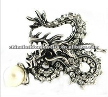 Vintage Cheap Silver Chinese Dragon Pearl Rings