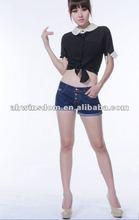 2012 fashion medium waist tight cowboy shorts