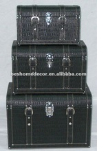 Set/3 Antique Classic Leather N Wood Trunk