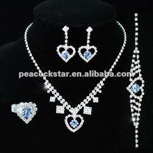 Blue Crystal Heart Necklace Bracelet Ring Earrings Set CS1065