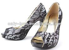 BS521 unique design black lace party shoes bridal wedding shoes